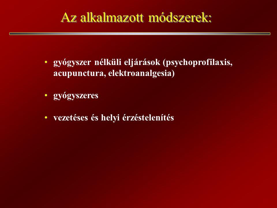 Az alkalmazott módszerek: gyógyszer nélküli eljárások (psychoprofilaxis, acupunctura, elektroanalgesia) gyógyszeres vezetéses és helyi érzéstelenítés