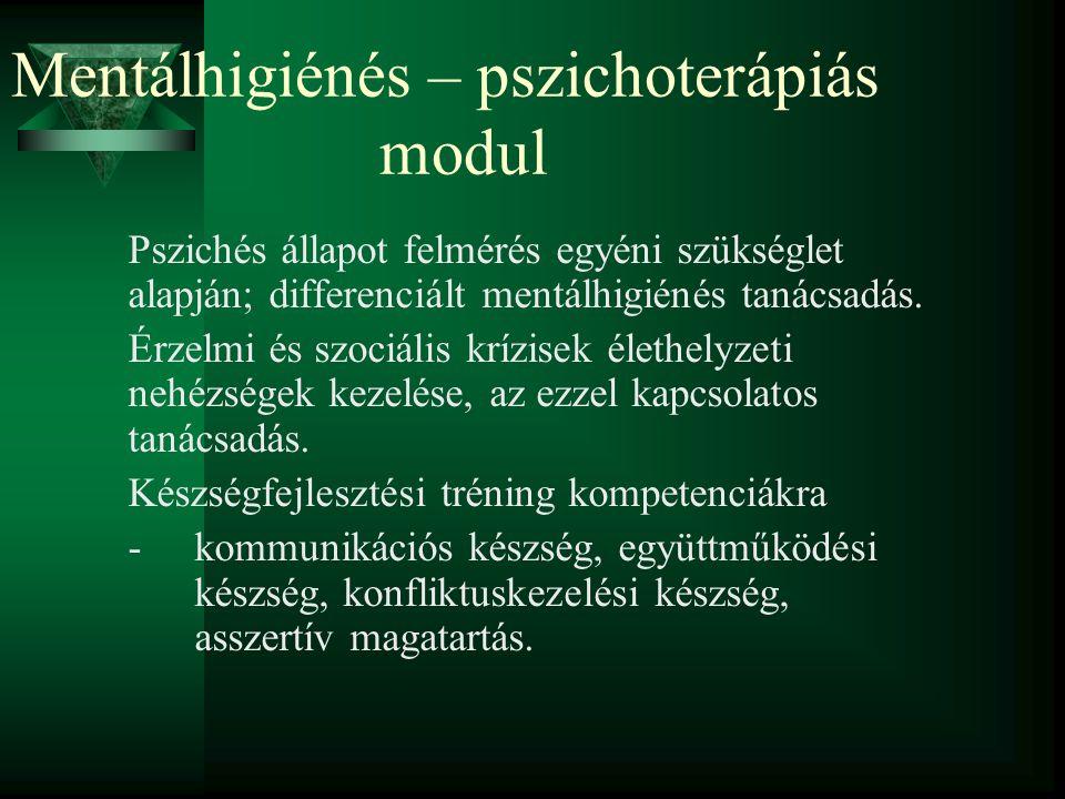 Mentálhigiénés – pszichoterápiás modul Pszichés állapot felmérés egyéni szükséglet alapján; differenciált mentálhigiénés tanácsadás. Érzelmi és szociá
