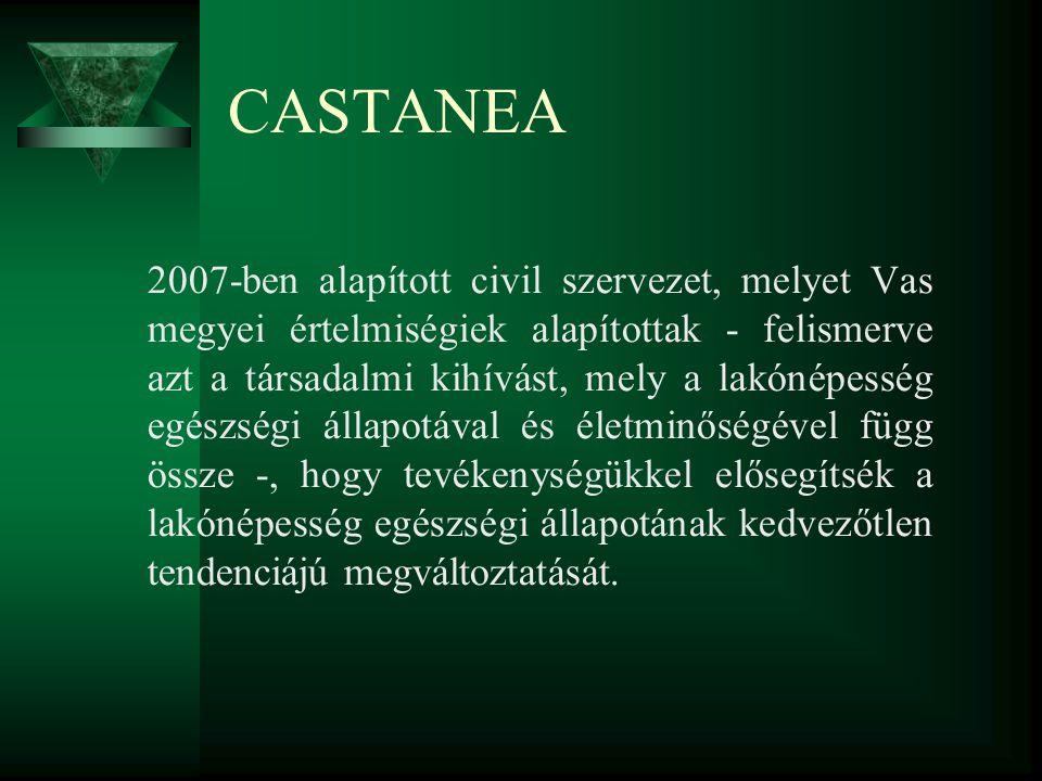CASTANEA 2007-ben alapított civil szervezet, melyet Vas megyei értelmiségiek alapítottak - felismerve azt a társadalmi kihívást, mely a lakónépesség egészségi állapotával és életminőségével függ össze -, hogy tevékenységükkel elősegítsék a lakónépesség egészségi állapotának kedvezőtlen tendenciájú megváltoztatását.