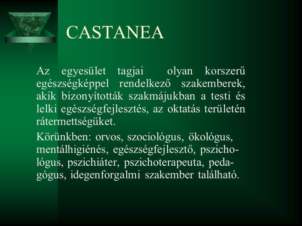 CASTANEA Az egyesület tagjai olyan korszerű egészségképpel rendelkező szakemberek, akik bizonyították szakmájukban a testi és lelki egészségfejlesztés, az oktatás területén rátermettségüket.