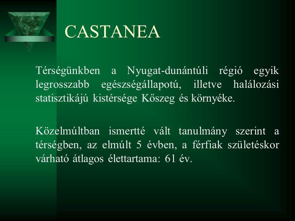 CASTANEA Térségünkben a Nyugat-dunántúli régió egyik legrosszabb egészségállapotú, illetve halálozási statisztikájú kistérsége Kőszeg és környéke. Köz