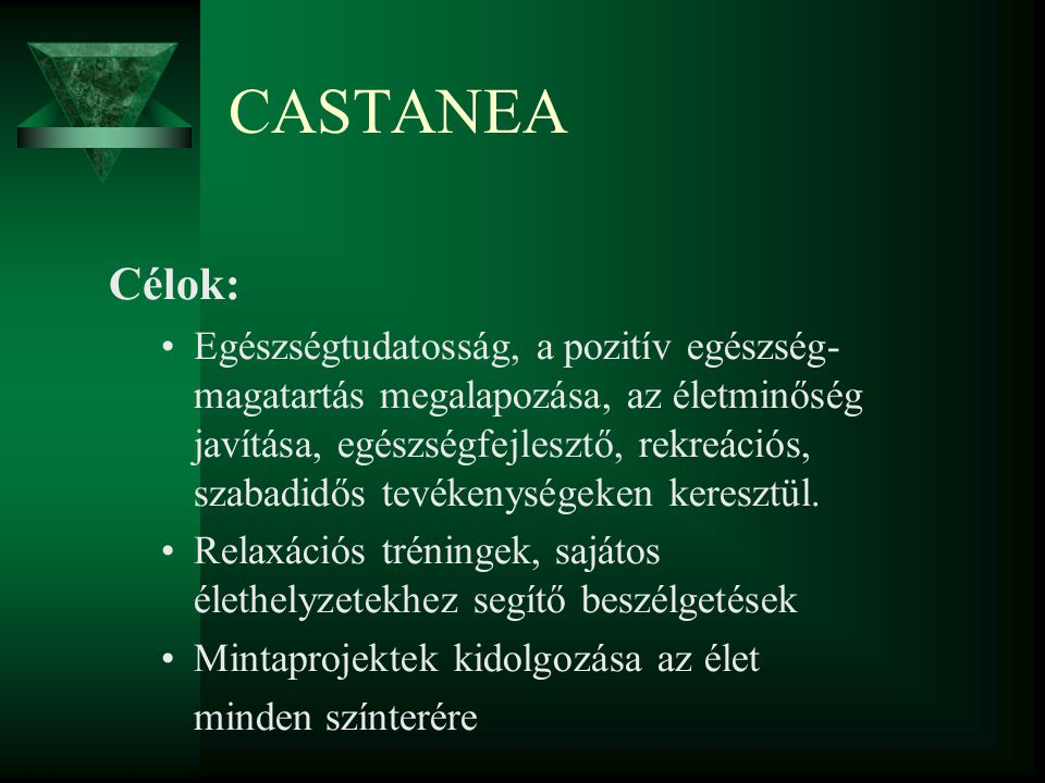 CASTANEA Célok ( folytatás): Középkorúak számára személyre szabott mozgásos és szellemi rekreációs módszerek ismertetése, gyakoroltatása Kapcsolattartás hasonló célú baráti társaságokkal, civil szervezetekkel