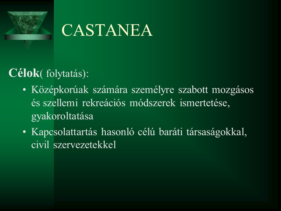 CASTANEA Célok ( folytatás): Középkorúak számára személyre szabott mozgásos és szellemi rekreációs módszerek ismertetése, gyakoroltatása Kapcsolattart
