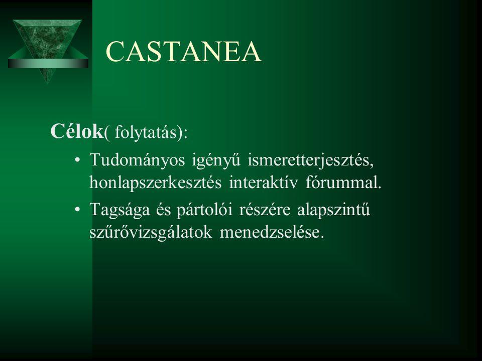 CASTANEA Célok ( folytatás): Tudományos igényű ismeretterjesztés, honlapszerkesztés interaktív fórummal. Tagsága és pártolói részére alapszintű szűrőv