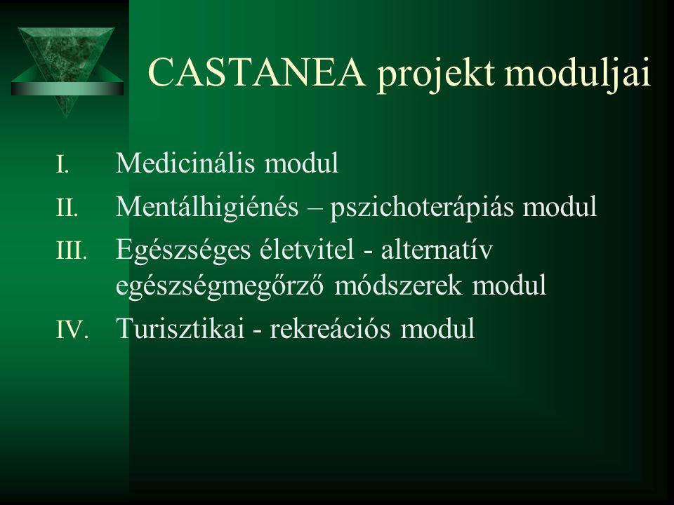 CASTANEA projekt moduljai I. Medicinális modul II. Mentálhigiénés – pszichoterápiás modul III. Egészséges életvitel - alternatív egészségmegőrző módsz