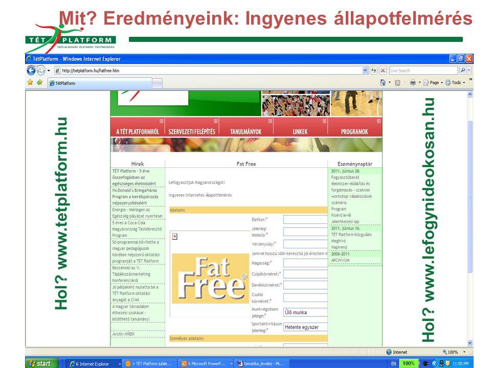 TÉT Platform Egyesület 1132 Budapest, Borbély u. 5-7. Tel.: 0630-258-4775 www.tetplatform.hu; info@tetplatform.hu Mit? Eredményeink: Ingyenes állapotf