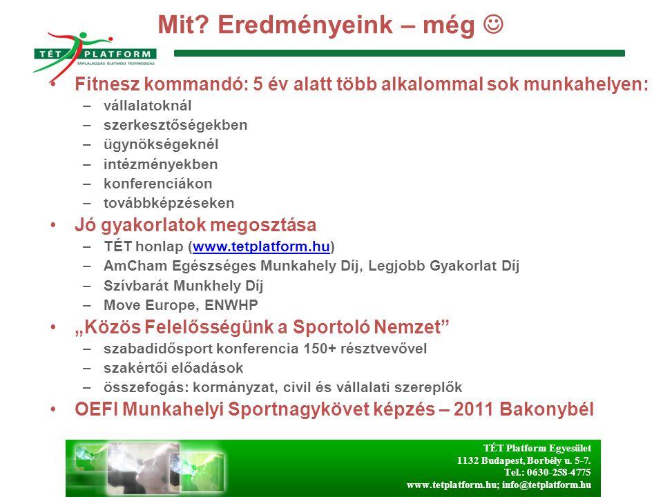 TÉT Platform Egyesület 1132 Budapest, Borbély u. 5-7. Tel.: 0630-258-4775 www.tetplatform.hu; info@tetplatform.hu Mit? Eredményeink – még Fitnesz komm