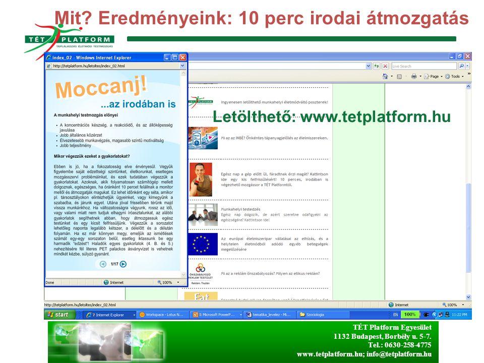 TÉT Platform Egyesület 1132 Budapest, Borbély u. 5-7. Tel.: 0630-258-4775 www.tetplatform.hu; info@tetplatform.hu Mit? Eredményeink: 10 perc irodai át