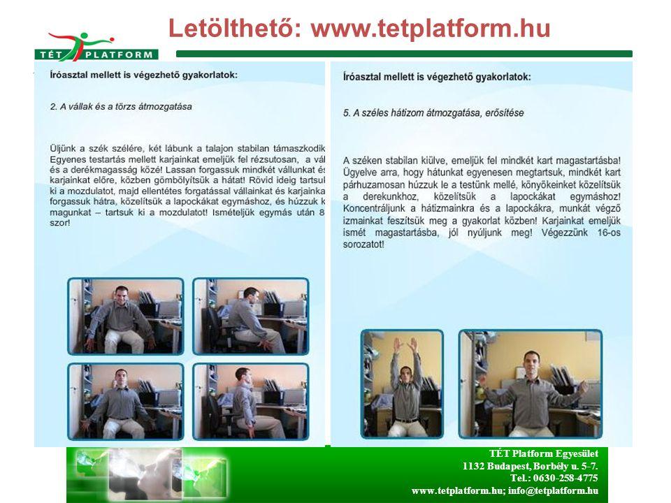 TÉT Platform Egyesület 1132 Budapest, Borbély u. 5-7. Tel.: 0630-258-4775 www.tetplatform.hu; info@tetplatform.hu Letölthető: www.tetplatform.hu