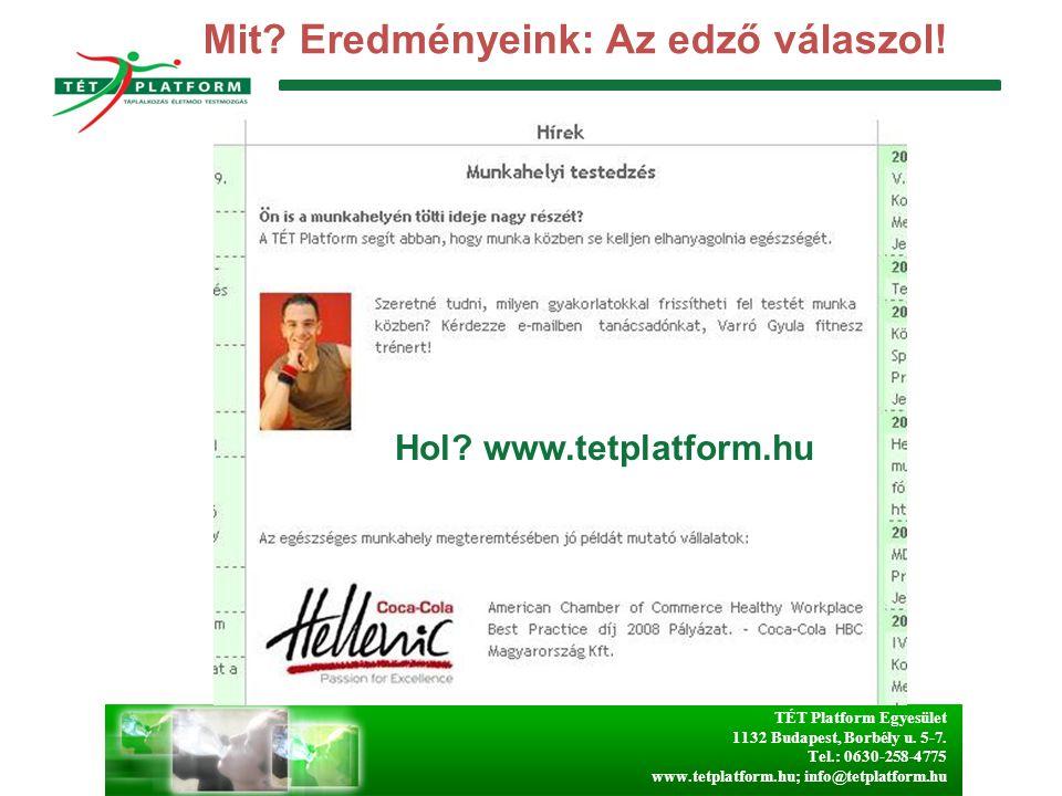 TÉT Platform Egyesület 1132 Budapest, Borbély u. 5-7. Tel.: 0630-258-4775 www.tetplatform.hu; info@tetplatform.hu Mit? Eredményeink: Az edző válaszol!
