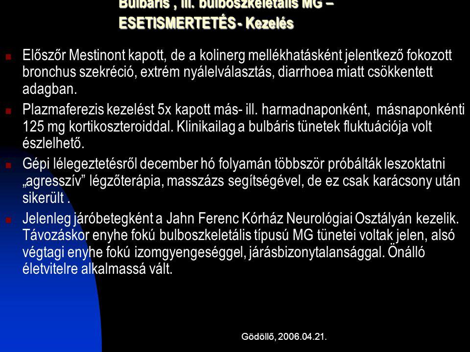 Gödöllő, 2006.04.21. Bulbaris, ill. bulboszkeletális MG – ESETISMERTETÉS - Kezelés Előszőr Mestinont kapott, de a kolinerg mellékhatásként jelentkező