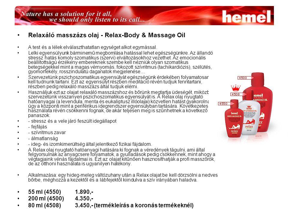 Relaxáló masszázs olaj - Relax-Body & Massage Oil A test és a lélek elválaszthatatlan egységet alkot egymással.