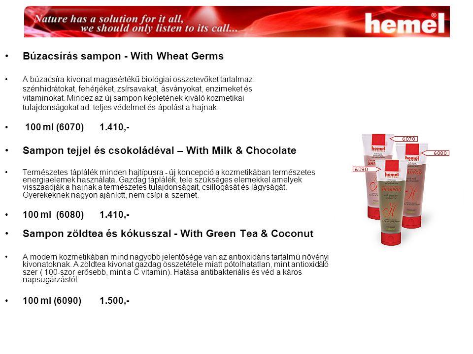 Búzacsírás sampon - With Wheat Germs A búzacsíra kivonat magasértékű biológiai összetevőket tartalmaz: szénhidrátokat, fehérjéket, zsírsavakat, ásványokat, enzimeket és vitaminokat.