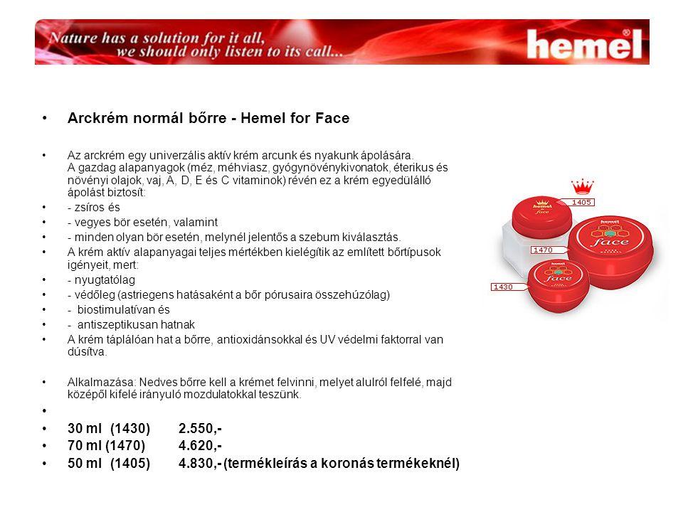Arckrém normál bőrre - Hemel for Face Az arckrém egy univerzális aktív krém arcunk és nyakunk ápolására.