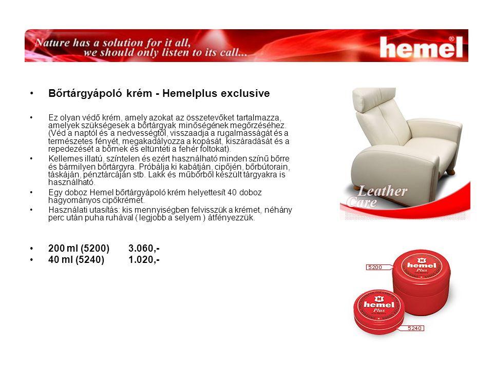 Bőrtárgyápoló krém - Hemelplus exclusive Ez olyan védő krém, amely azokat az összetevőket tartalmazza, amelyek szükségesek a bőrtárgyak minőségének megőrzéséhez.