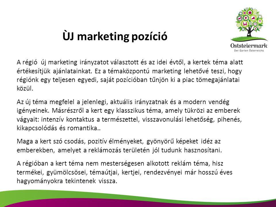 ÙJ marketing pozíció A régió új marketing irányzatot választott és az idei évtől, a kertek téma alatt értékesítjük ajánlatainkat. Ez a témaközpontú ma