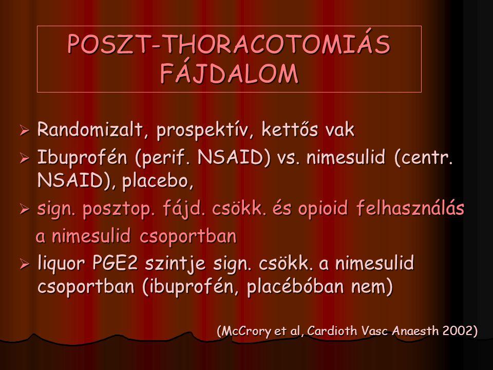 POSZT-THORACOTOMIÁS FÁJDALOM  Randomizalt, prospektív, kettős vak  Ibuprofén (perif. NSAID) vs. nimesulid (centr. NSAID), placebo,  sign. posztop.
