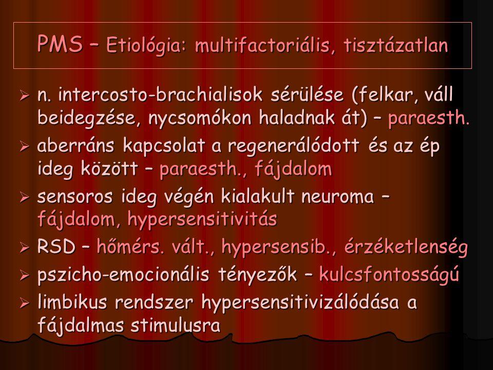 PMS – Etiológia: multifactoriális, tisztázatlan  n. intercosto-brachialisok sérülése (felkar, váll beidegzése, nycsomókon haladnak át) – paraesth. 