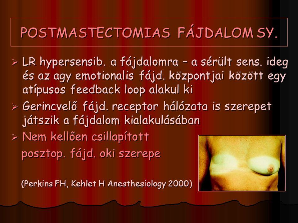POSTMASTECTOMIAS FÁJDALOM SY.  LR hypersensib. a fájdalomra – a sérült sens. ideg és az agy emotionalis fájd. központjai között egy atípusos feedback