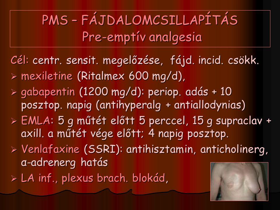 PMS – FÁJDALOMCSILLAPÍTÁS Pre-emptív analgesia Cél: centr. sensit. megelőzése, fájd. incid. csökk.  mexiletine (Ritalmex 600 mg/d),  gabapentin (120