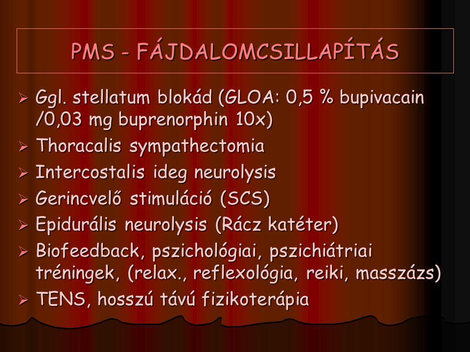PMS - FÁJDALOMCSILLAPÍTÁS  Ggl. stellatum blokád (GLOA: 0,5 % bupivacain /0,03 mg buprenorphin 10x)  Thoracalis sympathectomia  Intercostalis ideg