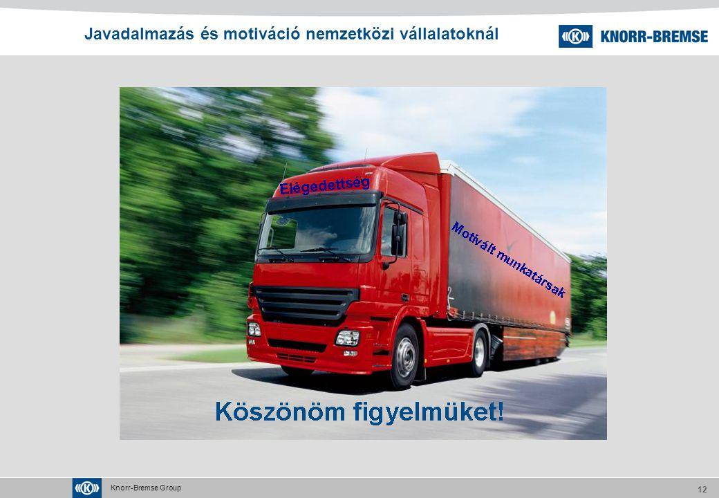 Knorr-Bremse Group 12 Javadalmazás és motiváció nemzetközi vállalatoknál