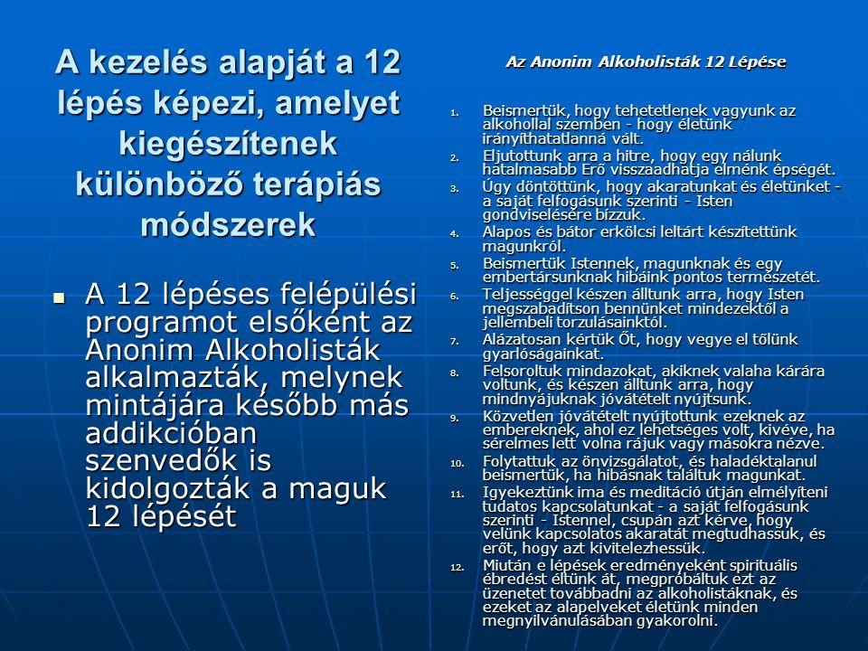 A kezelés alapját a 12 lépés képezi, amelyet kiegészítenek különböző terápiás módszerek A 12 lépéses felépülési programot elsőként az Anonim Alkoholis
