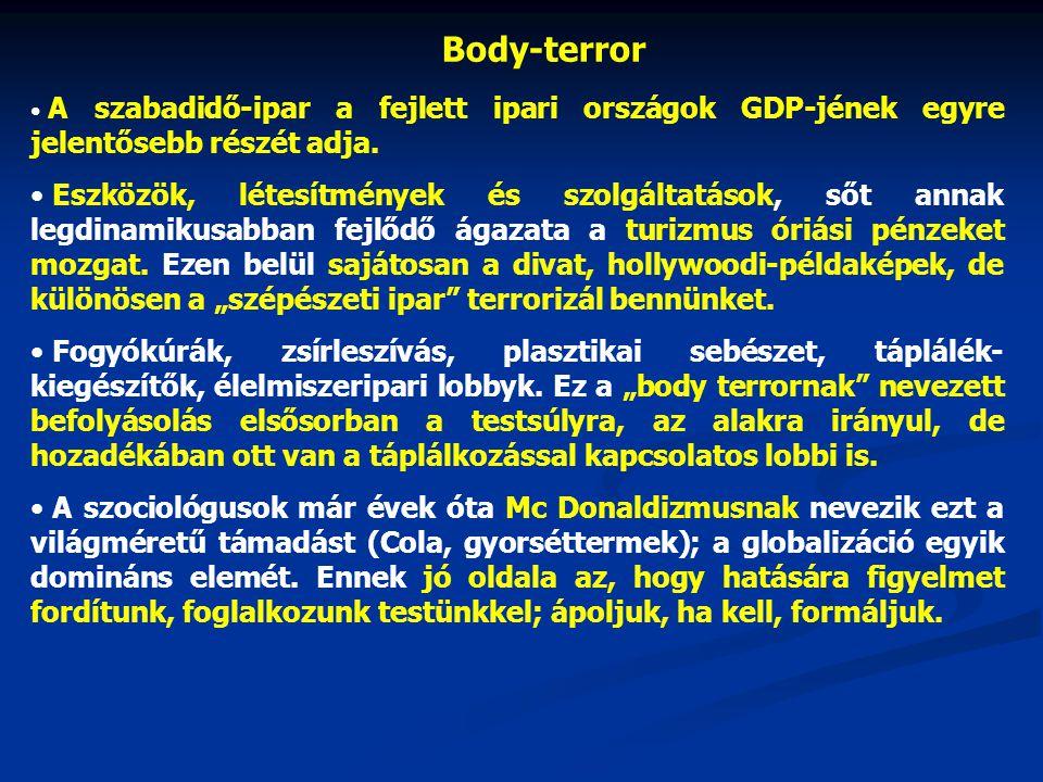 Body-terror A szabadidő-ipar a fejlett ipari országok GDP-jének egyre jelentősebb részét adja.