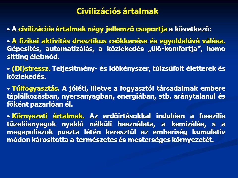 Civilizációs ártalmak A civilizációs ártalmak négy jellemző csoportja a következő: A fizikai aktivitás drasztikus csökkenése és egyoldalúvá válása.