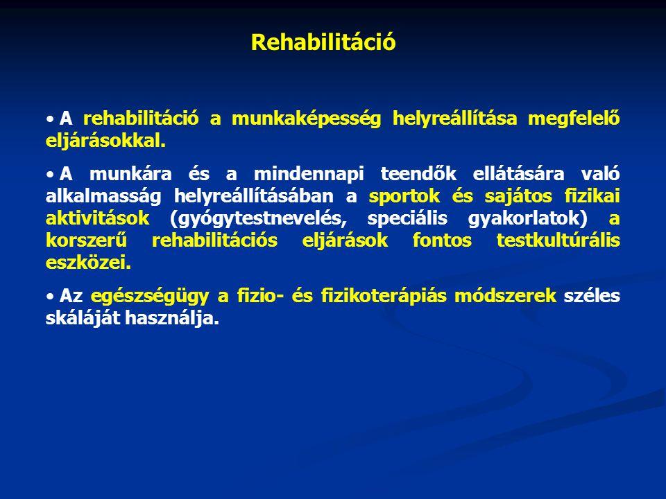 A rehabilitáció a munkaképesség helyreállítása megfelelő eljárásokkal.
