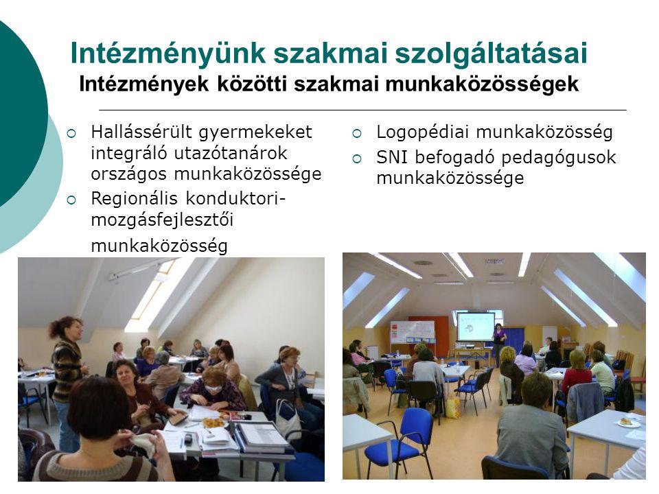 Intézményünk szakmai szolgáltatásai Intézmények közötti szakmai munkaközösségek  Hallássérült gyermekeket integráló utazótanárok országos munkaközöss