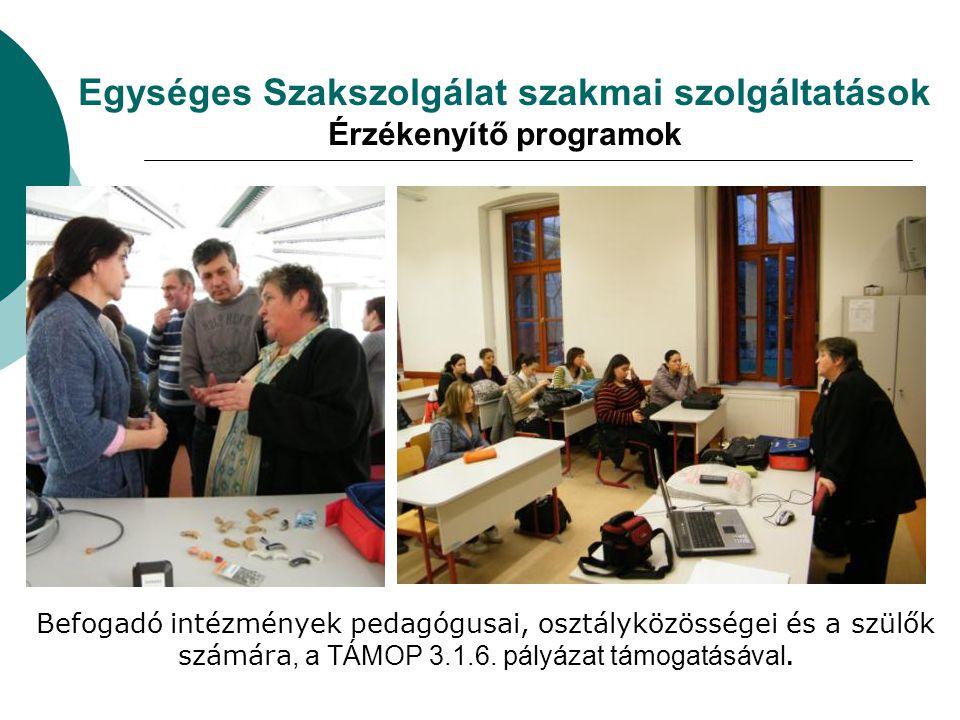 Egységes Szakszolgálat szakmai szolgáltatások Érzékenyítő programok Befogadó intézmények pedagógusai, osztályközösségei és a szülők számára, a TÁMOP 3