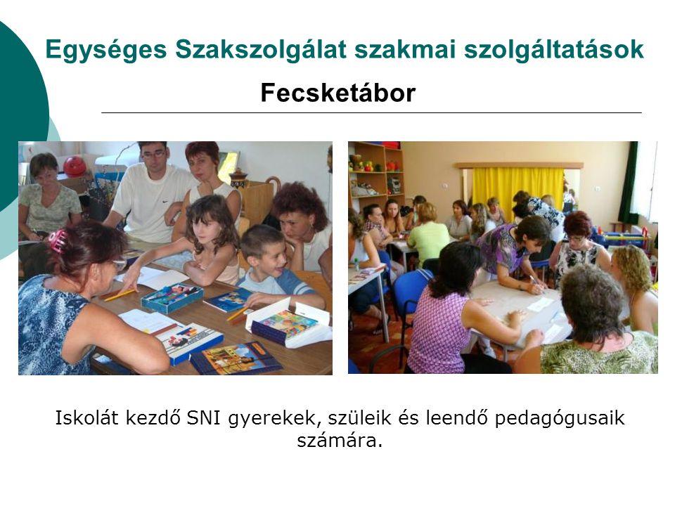 Egységes Szakszolgálat szakmai szolgáltatások Fecsketábor Iskolát kezdő SNI gyerekek, szüleik és leendő pedagógusaik számára.