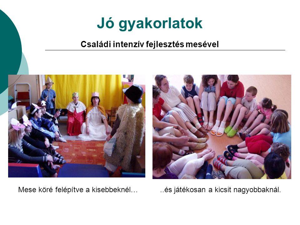 Jó gyakorlatok Családi intenzív fejlesztés mesével Mese köré felépítve a kisebbeknél…..és játékosan a kicsit nagyobbaknál.