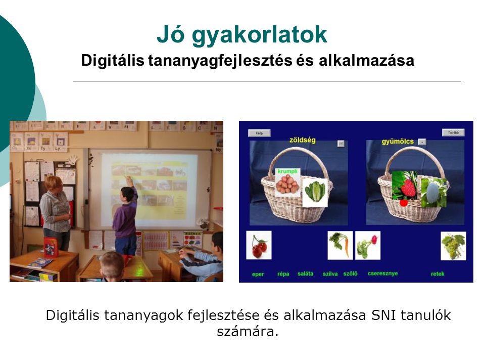 Jó gyakorlatok Digitális tananyagfejlesztés és alkalmazása Digitális tananyagok fejlesztése és alkalmazása SNI tanulók számára.