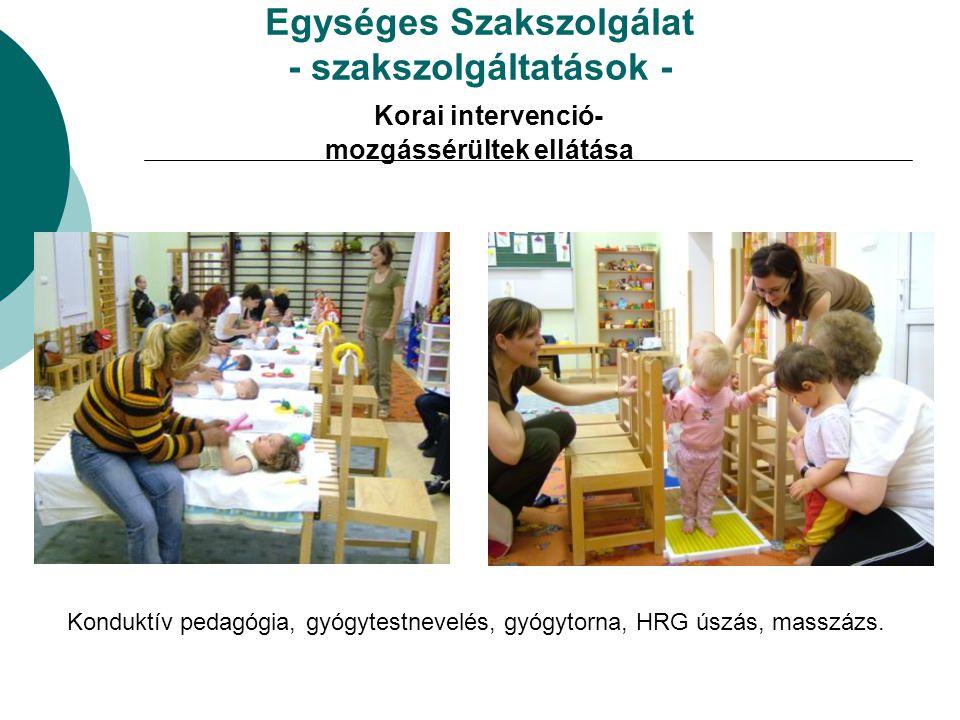 Egységes Szakszolgálat - szakszolgáltatások - Korai intervenció- mozgássérültek ellátása Konduktív pedagógia, gyógytestnevelés, gyógytorna, HRG úszás,