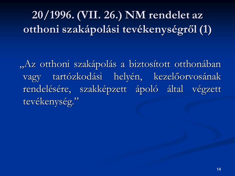 """14 20/1996. (VII. 26.) NM rendelet az otthoni szakápolási tevékenységről (1) """"Az otthoni szakápolás a biztosított otthonában vagy tartózkodási helyén,"""