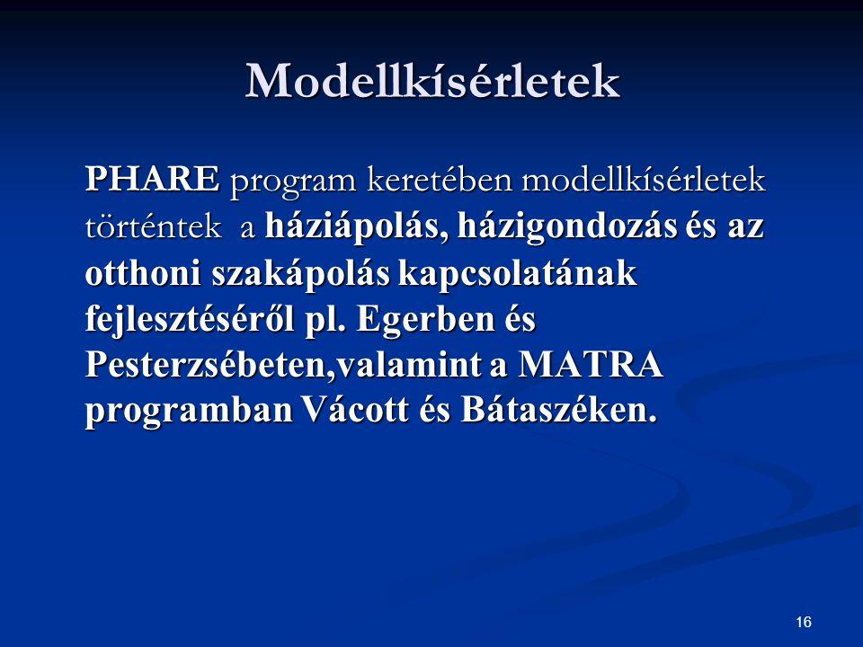 16 Modellkísérletek PHARE program keretében modellkísérletek történtek a háziápolás, házigondozás és az otthoni szakápolás kapcsolatának fejlesztésérő