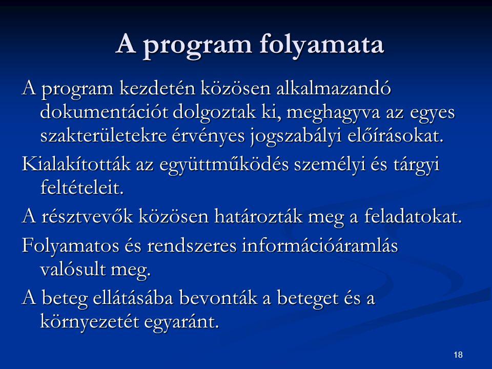 18 A program folyamata A program kezdetén közösen alkalmazandó dokumentációt dolgoztak ki, meghagyva az egyes szakterületekre érvényes jogszabályi elő