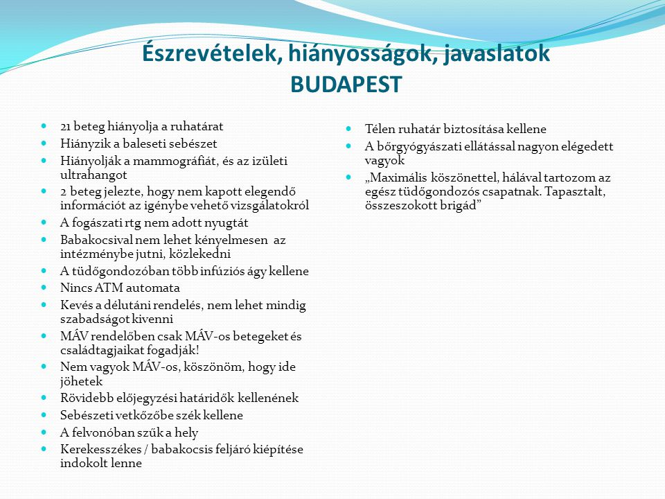 Észrevételek, hiányosságok, javaslatok BUDAPEST 21 beteg hiányolja a ruhatárat Hiányzik a baleseti sebészet Hiányolják a mammográfiát, és az izületi u