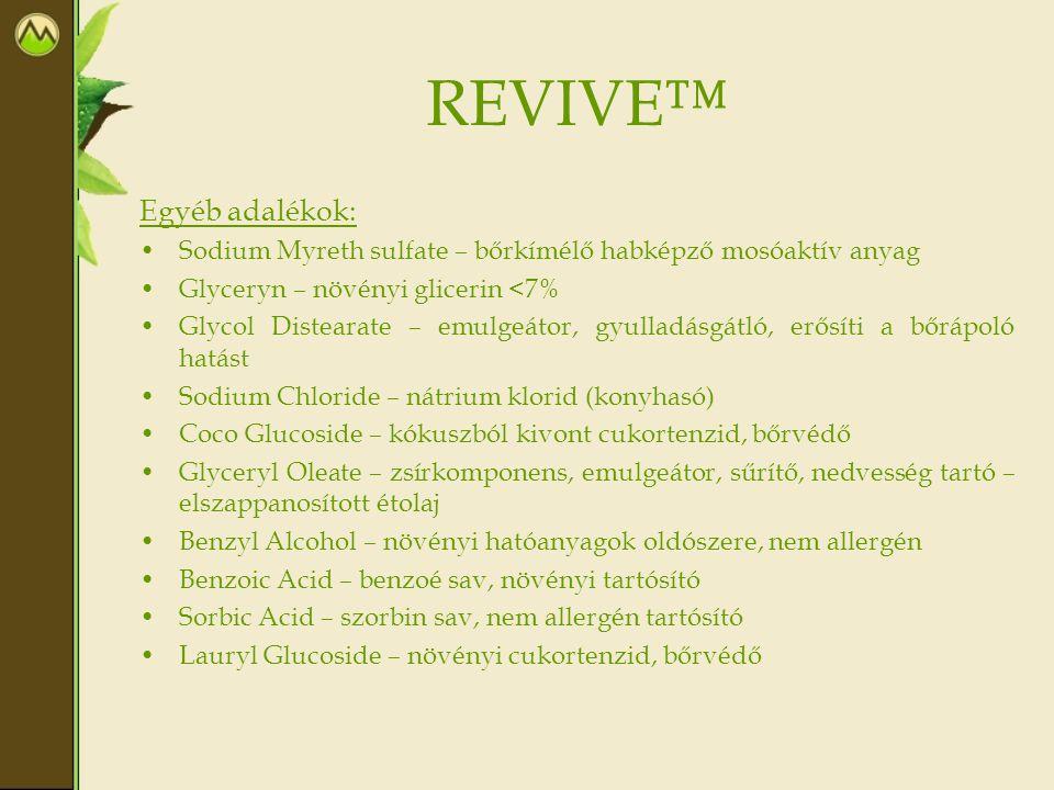 REVIVE™ Egyéb adalékok: Sodium Myreth sulfate – bőrkímélő habképző mosóaktív anyag Glyceryn – növényi glicerin <7% Glycol Distearate – emulgeátor, gyu