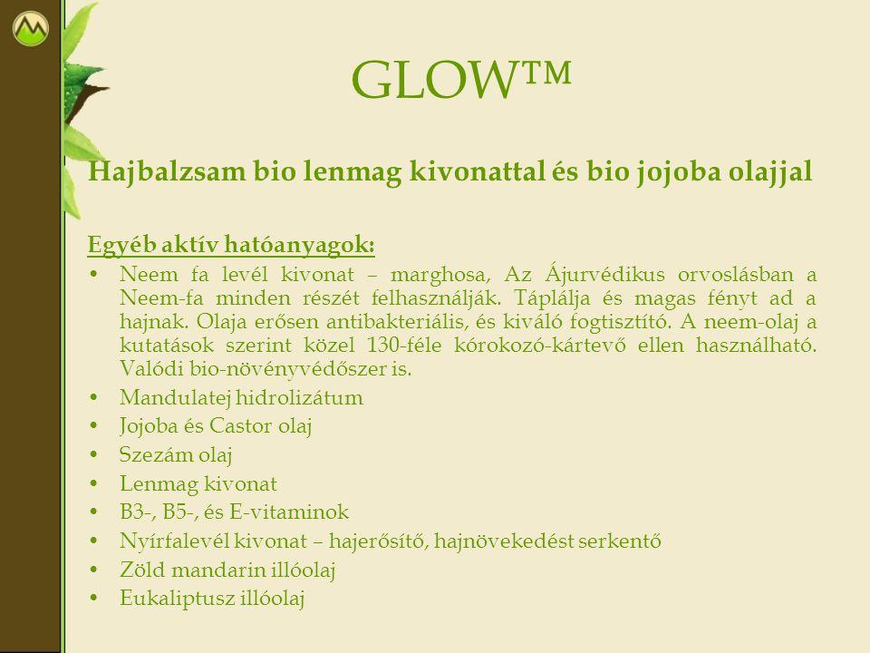GLOW™ Hajbalzsam bio lenmag kivonattal és bio jojoba olajjal Egyéb aktív hatóanyagok: Neem fa levél kivonat – marghosa, Az Ájurvédikus orvoslásban a N
