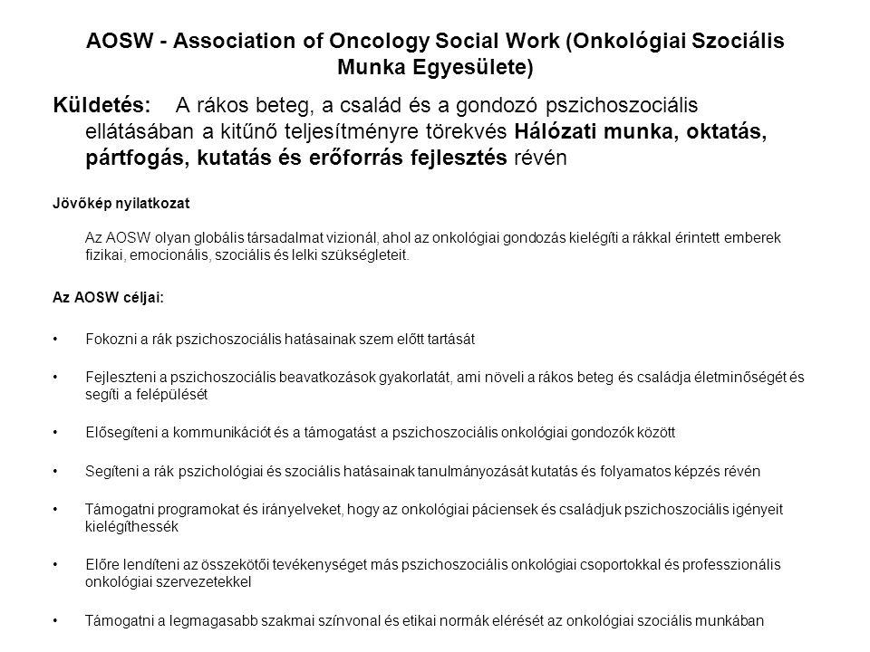 AOSW - Association of Oncology Social Work (Onkológiai Szociális Munka Egyesülete) Küldetés: A rákos beteg, a család és a gondozó pszichoszociális ell