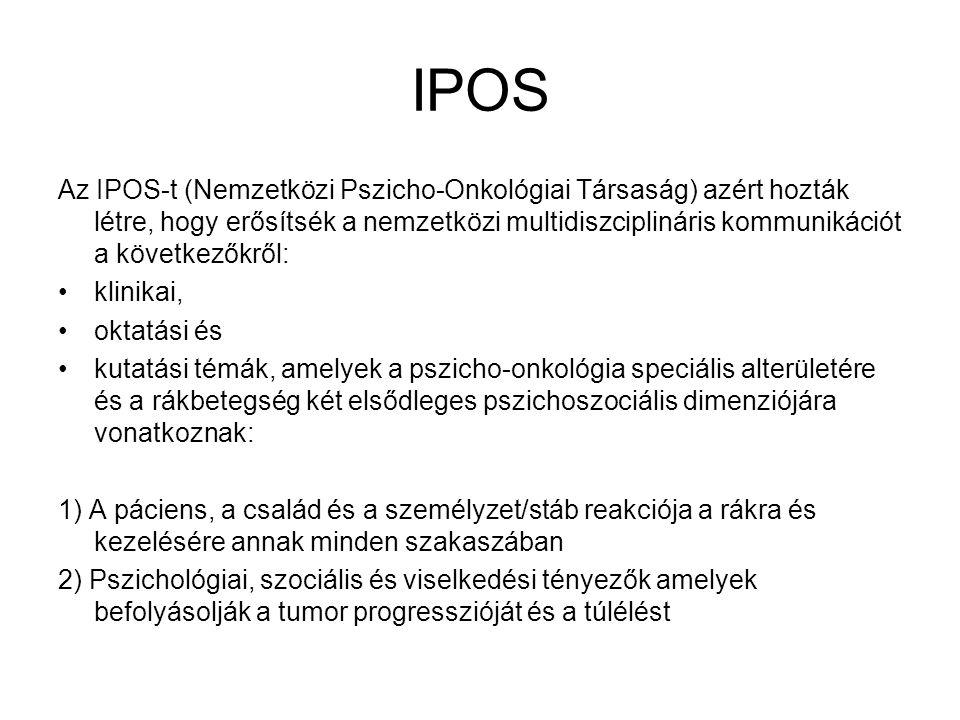 IPOS Az IPOS-t (Nemzetközi Pszicho-Onkológiai Társaság) azért hozták létre, hogy erősítsék a nemzetközi multidiszciplináris kommunikációt a következők