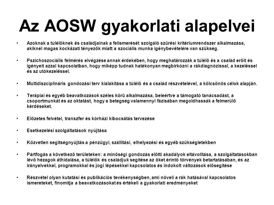 Az AOSW gyakorlati alapelvei Azoknak a túlélőknek és családjainak a felismerését szolgáló szűrési kritériumrendszer alkalmazása, akiknél magas kockáza