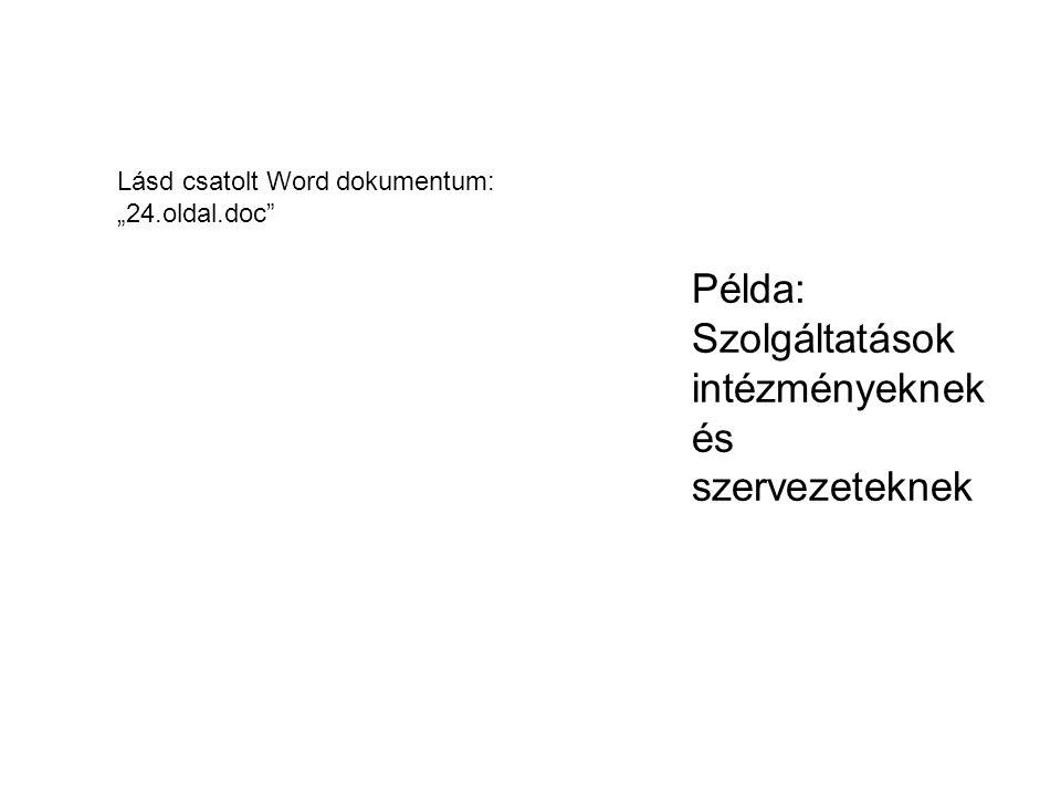 """Példa: Szolgáltatások intézményeknek és szervezeteknek Lásd csatolt Word dokumentum: """"24.oldal.doc"""""""