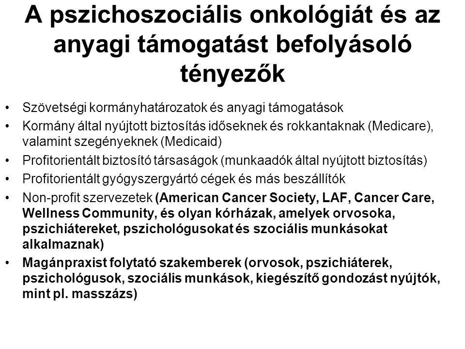 A pszichoszociális onkológiát és az anyagi támogatást befolyásoló tényezők Szövetségi kormányhatározatok és anyagi támogatások Kormány által nyújtott