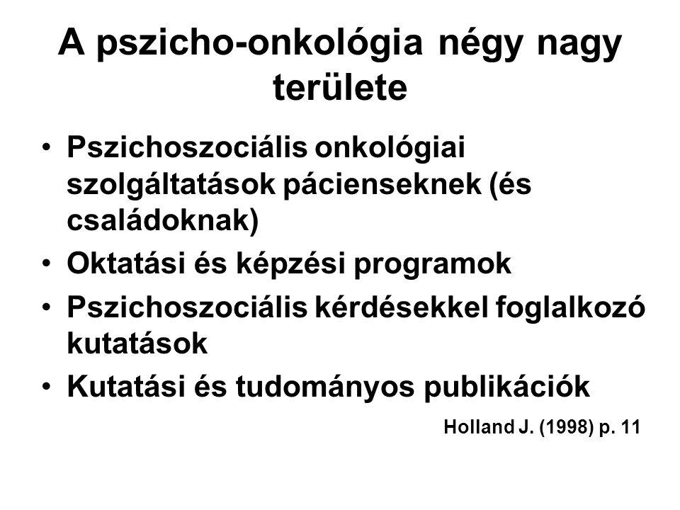 A pszicho-onkológia négy nagy területe Pszichoszociális onkológiai szolgáltatások pácienseknek (és családoknak) Oktatási és képzési programok Pszichos