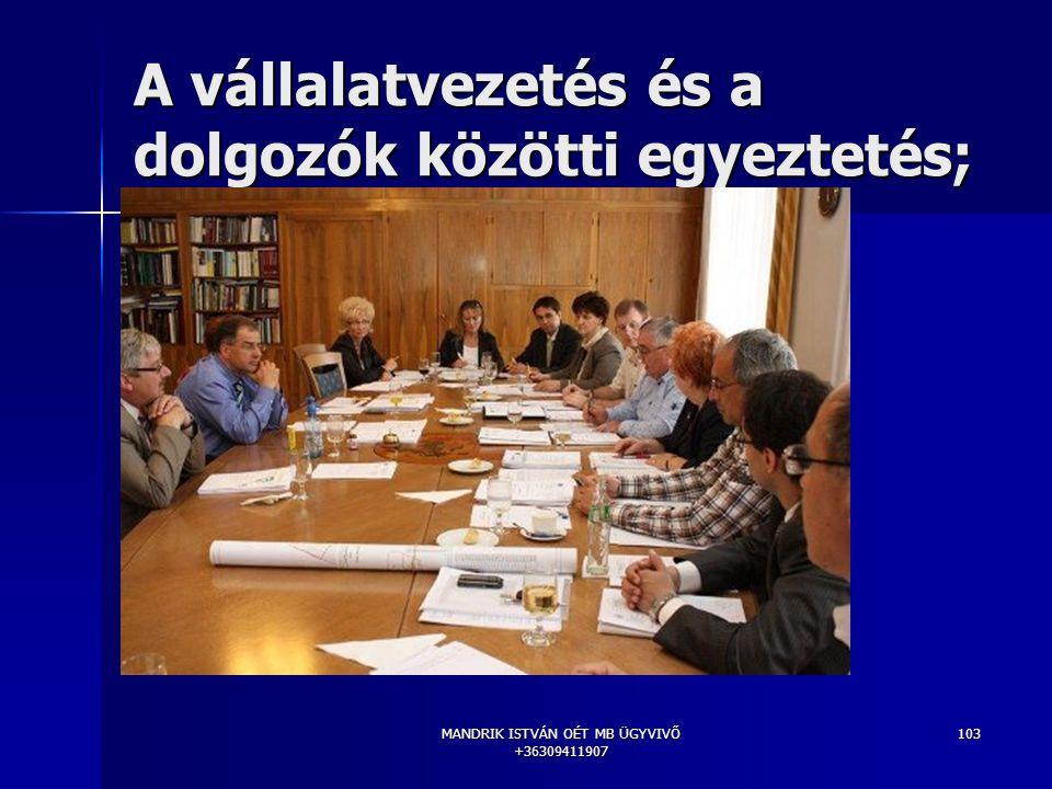 MANDRIK ISTVÁN OÉT MB ÜGYVIVŐ +36309411907 103 A vállalatvezetés és a dolgozók közötti egyeztetés;