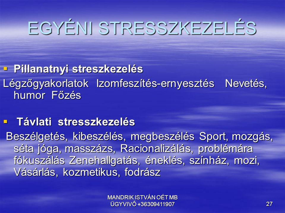 MANDRIK ISTVÁN OÉT MB ÜGYVIVŐ +3630941190727 EGYÉNI STRESSZKEZELÉS  Pillanatnyi streszkezelés  Pillanatnyi streszkezelés Légzőgyakorlatok Izomfeszít